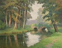 pont sur la rivière by maurice pigeon