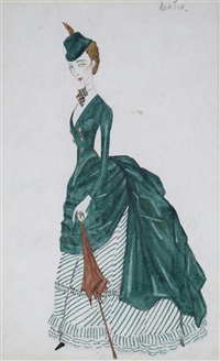 study of a lady in a green dress by cecil beaton