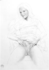 illustration à la mine de plomb représentant une jeune fille dénudée assise sur une chaise by aslan