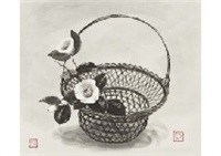 white camelia in basket by akira akizuki