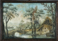 coppia di paesaggi campestri con rustici (pair) by francesco londonio