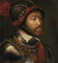 portrait head of charles v at battle of muehlberg by titian (tiziano vecelli)