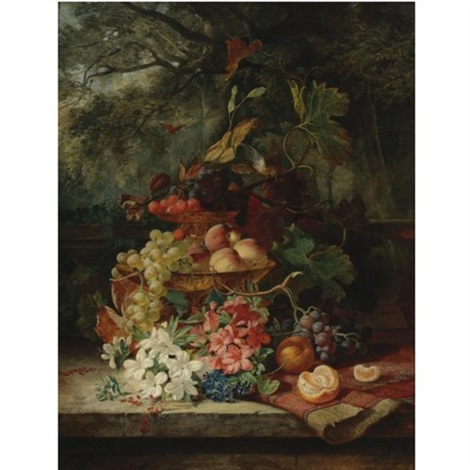 still life with grapes cherries peaches and flowers in a double tiered gilt dish a carpet and an orange all resting on a ledge with a balustrade and a garden landscape beyond by simon saint jean