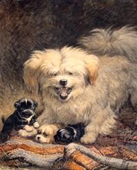 hond met puppies by henriette ronner-knip