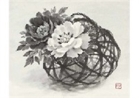red and white peony in basket by akira akizuki
