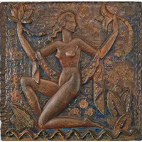 large plaque with nude by waylande gregory