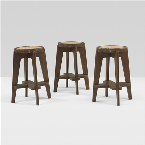 stools from punjab university chandigarh set of 3 by pierre jeanneret
