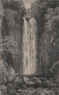 waterfall, nichols creek, dunedin (+ nichols creek, dunedin; pair) by e. sandys