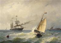 schiffe auf der bewegten see vor den hafenanlagen von vlissingen by jacob willem gruyter