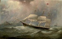 "the black ball line clipper ship ""ocean chief"" reducing sail on her australian run by duncan mcfarlane"