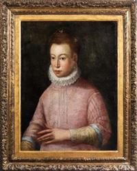 halbbildnis einer adeligen dame im rosafarbenen kleid mit perlenkette und halskrause by sofonisba anguissola