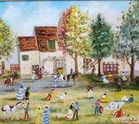 scène animée devant la ferme by claude tabet