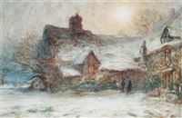 a country cottage (+ a mountain village in italy; pair) by thomas william morley