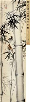 竹林双雀图 立轴 纸本 by xu beihong