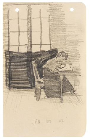 julia am schreibtisch sitzend by lyonel feininger