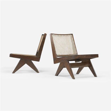 lounge chairs from chandigarh, india (pair) by pierre jeanneret