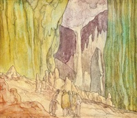 at the mouth of the cave (illustrated) and stone carvings (2 works) by austin osman spare