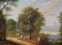 flusslandschaft mit reisenden auf einem uferpfad, im hintergrund ein dorf (+ rastende auf einem pfad am flussufer; 2 works) by jean francois aman