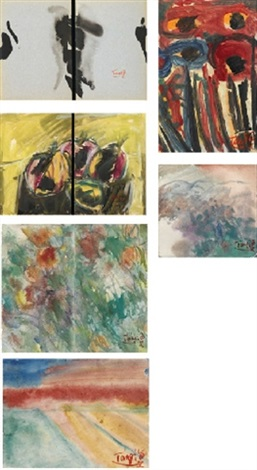 abstract landscape and still-life (6 works, various sizes) by t'ang haywen