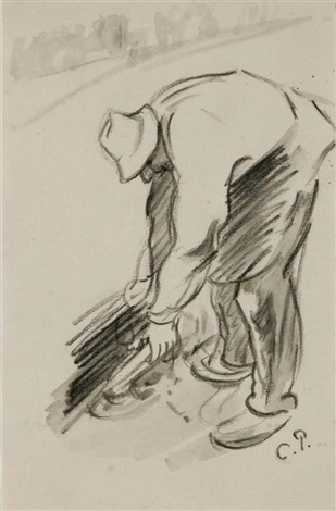 peasant at work by camille pissarro