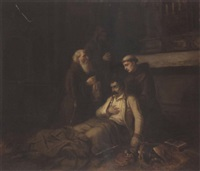 a wounded soldier receiving the last rites by karl josef litschauer