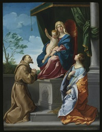 the virgin and child enthroned with saints francis and francis by guido reni