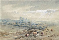 gloucester cathedral (illustrated) and the birdlip escarpment (2 works) by henry earp
