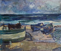 boats on the seashore by karl stachelscheid