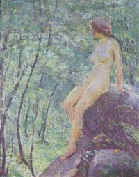 a study of a landscape with nude figure by robert reid