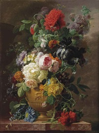 roses, daffodils, poppies, hollyhock, black iris and other flowers in a classical vase on a marble ledge by arnoldus bloemers