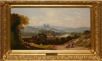 italianate landscape with figures in foreground by george w. pettit