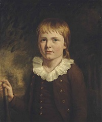 portrait of a young boy, three-quarter-length, in a brown coat with a white collar, his right hand on a cricket bat, in a landscape by john opie