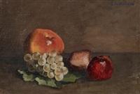 nature morte, pêches, pommes et raisins sur une feuille de vigne by gustave caillebotte