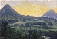 panoramic mountainous landscape by ernst (vollbach) vollbehr