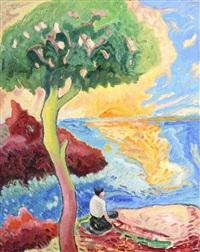 femme assise sous un arbre by jacques pons