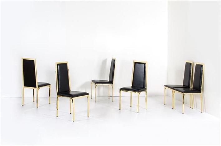 Sei sedie in ottone con schienali e sedili imbottiti rivestit in