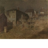 old house, moonlight, gloucester by paul cornoyer