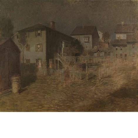 old house moonlight gloucester by paul cornoyer