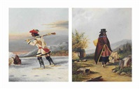 an indian trapper on snow shoes; and a caughnawaga basket seller (pair) by a. young