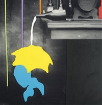 the duress series: person shielding self from spill from overturned bottle by john baldessari