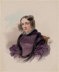 portrait of a woman in a violet dress by vladimir ivanovich hau