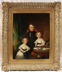 portrait of richard heyburne with his twin daughters by t. gandy