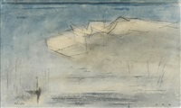 sailboat in a wall of fog by lyonel feininger