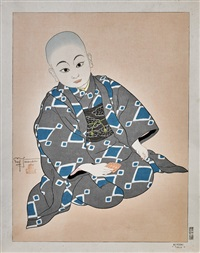 children studies: bebe coreen en costume de ceremonie. seoul and kiyoshi, tokio (2 works) by paul jacoulet