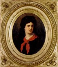 porträtt av dam med röd schal by marcel johann von zadorecki