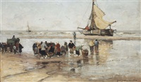 fishermen on the beach by gerhard arij ludwig morgenstjerne munthe