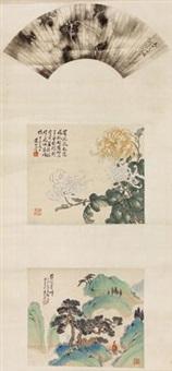 三挖 (3 work on 1 scroll; various sizes) by huang shanshou
