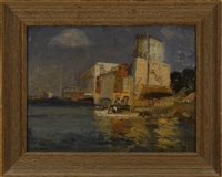 harbor scene and unfinished landscape (verso) by arthur j. beaumont