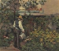le père bail dans son jardin à bois-le-roi by maximilien luce