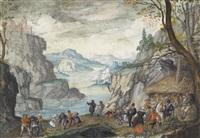 felsige flusslandschaft mit tanzenden bauern by lucas van valkenborch